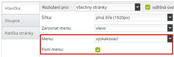 fixní menu pro webstránky a eshop