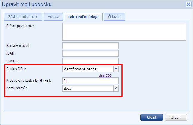 nastavení dph modulu ve flox 2.0