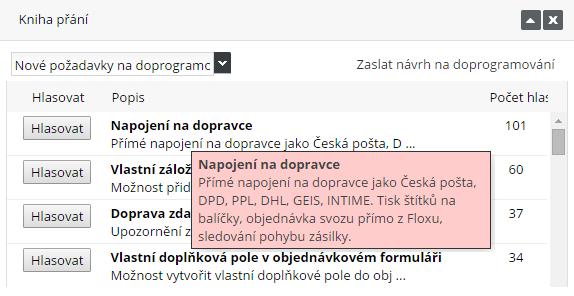 knihá přání, nové funkce ve Flox 3