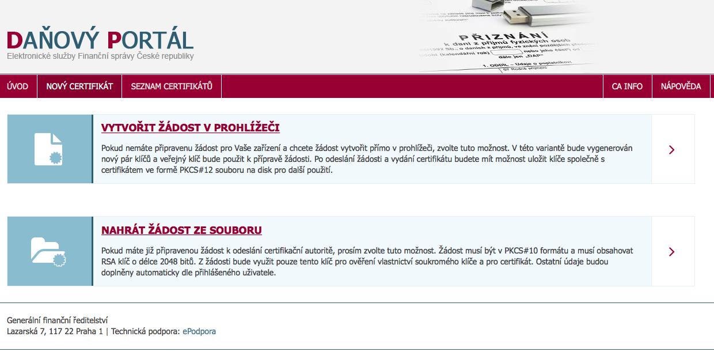 vystavení certifikátu daňový portál, certifikát pro #EET