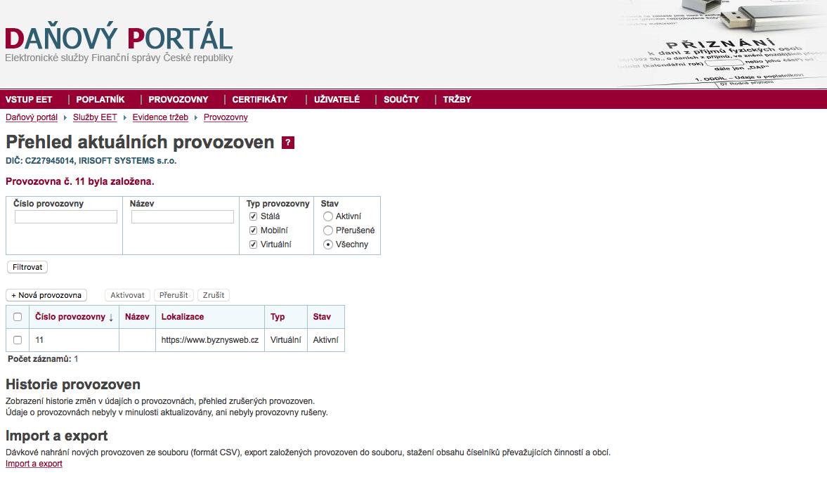 nastavení provozovny pro #EET daňový portál