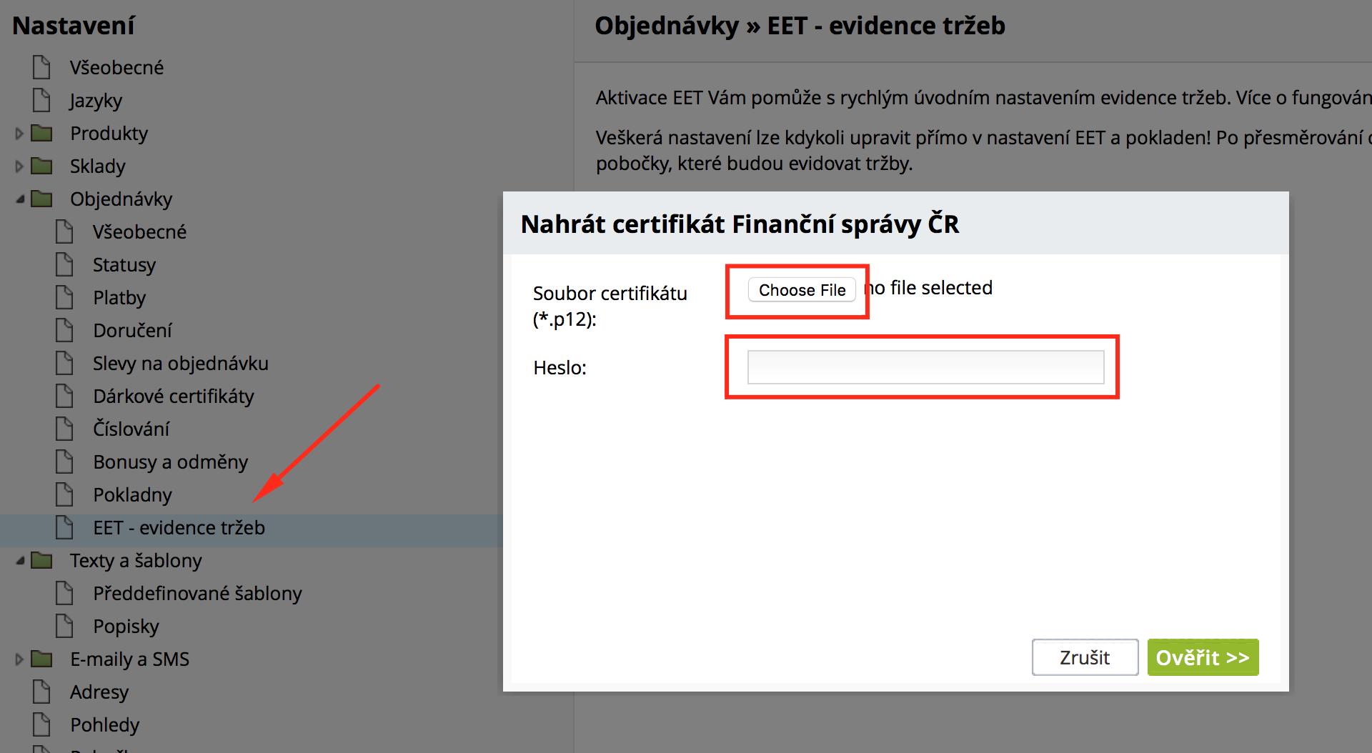 nastavení #EET v e-shopu od ByznysWeb.cz