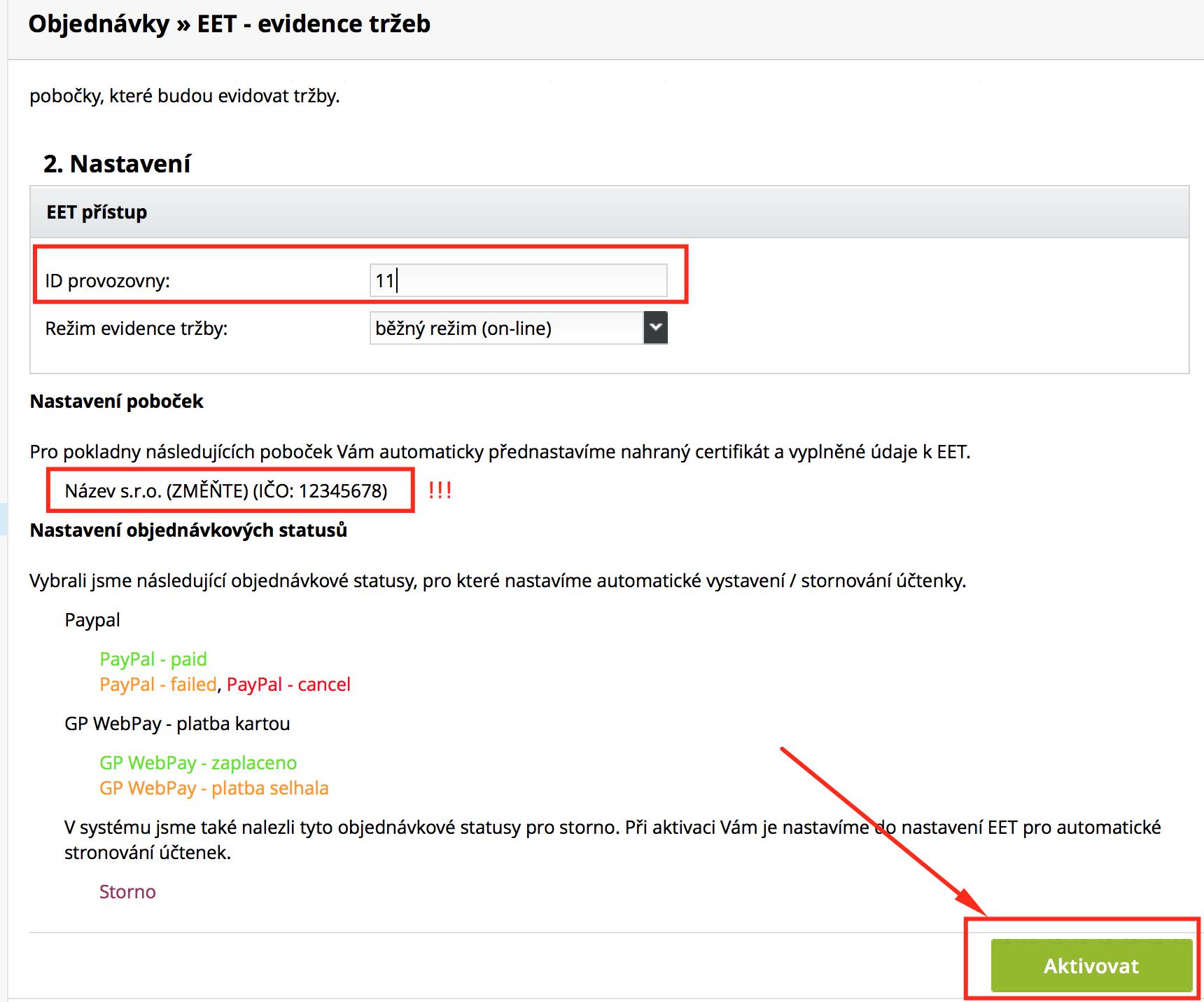 aktivace nové pobočky pro EET v e-shopu