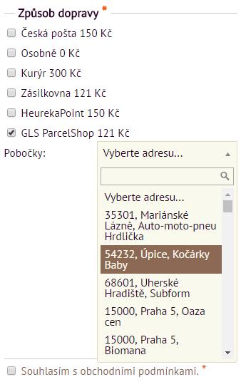 GLS ParcelShop pro všechny e-shopy ve Flox 3