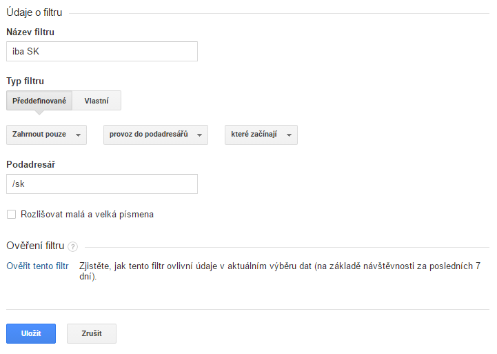 Editace filtru v Google Analytics