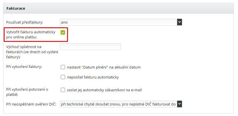 nastavení vystavování faktur při online platbách v e-shopu