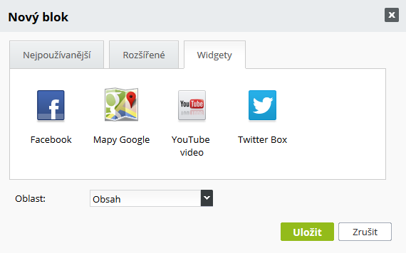 Facebook , Google Mapy, Youtube a Twitter box